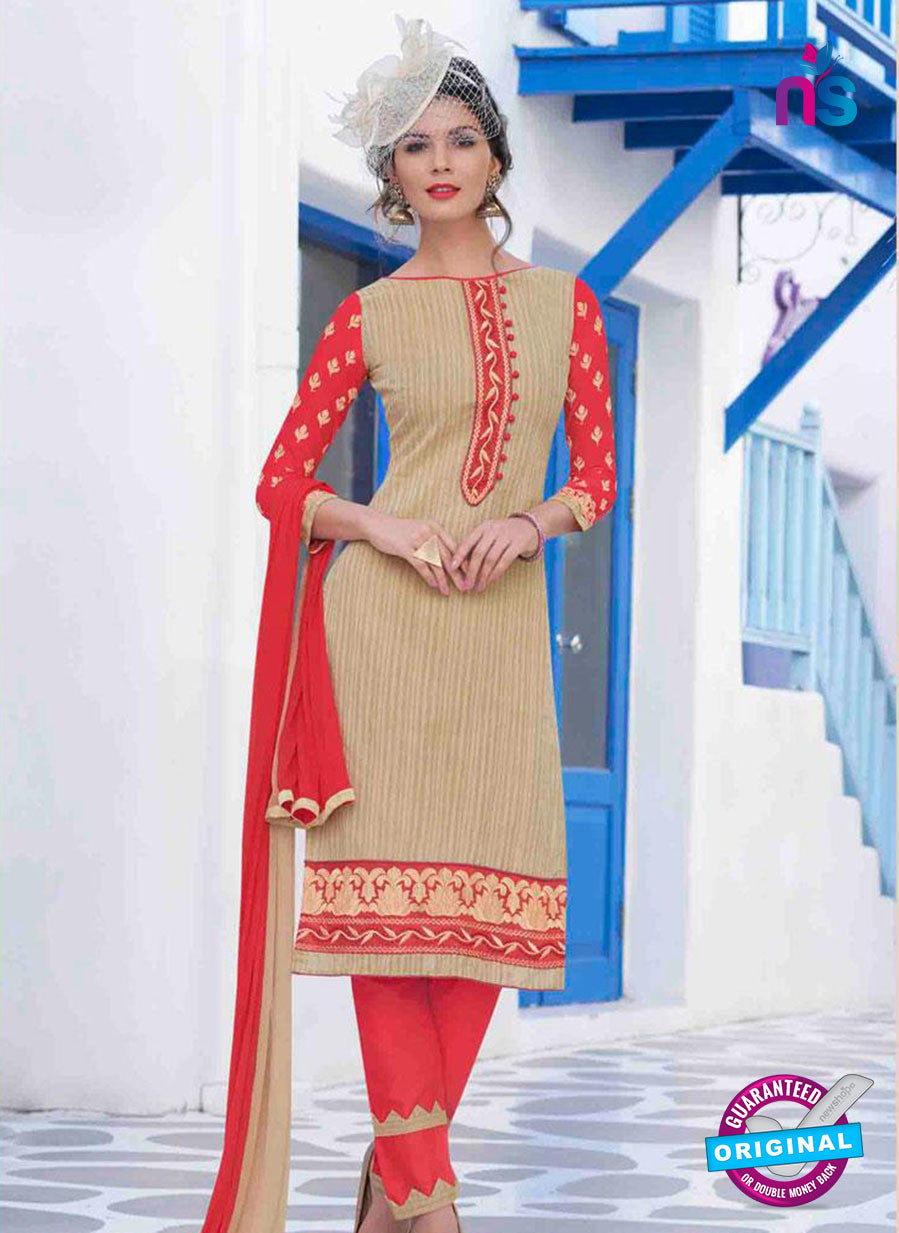 NS11619 SandyBrown and LightRed Daily Wear Handloon Cotton Straight Suit