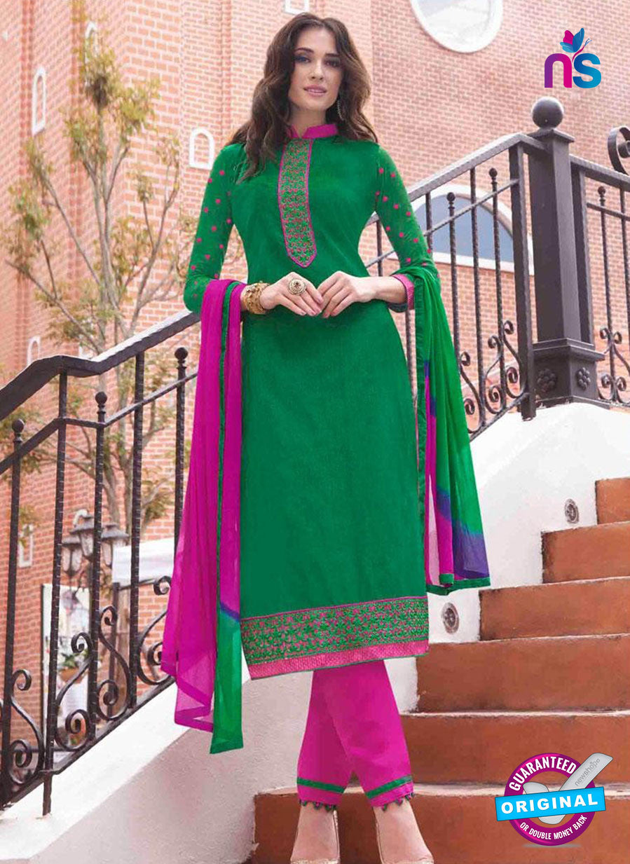 NS11620 Green and Magenta Daily Wear Handloon Cotton Straight Suit