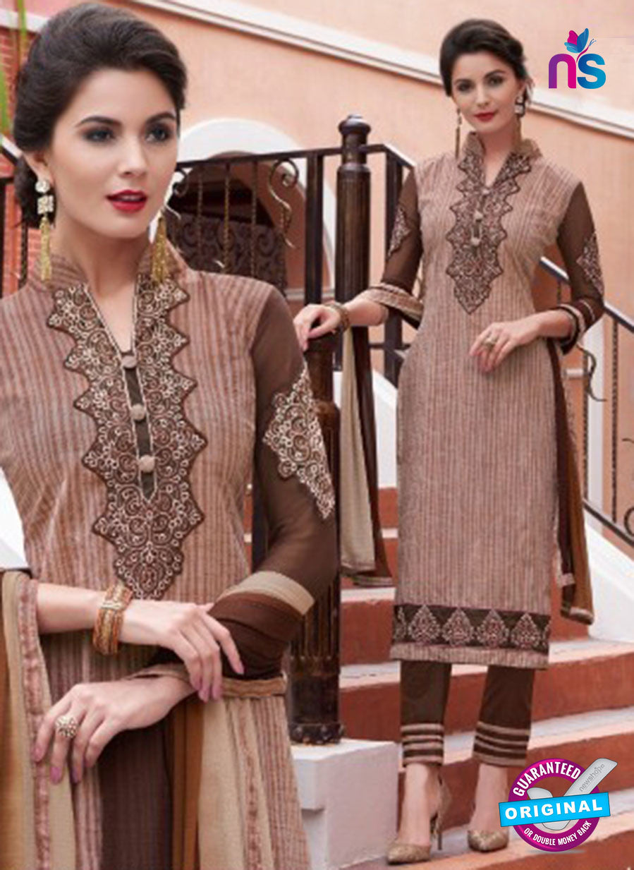 NS11621 CoffeeBrown Daily Wear Handloon Cotton Straight Suit