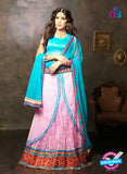 NS11657 Sky Blue & Pink Net Brasso Party Wear Lehenga Choli