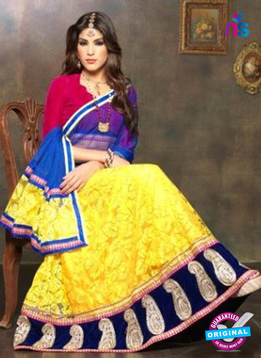 NS11658 Pink & Yellow Net Brasso Party Wear Lerhenga Choli