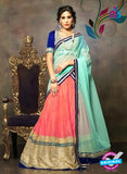 NS11662 Blue & Pink Net Brasso Party Wear Lerhenga Choli