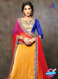 NS11663 Blue & Yellow Net Brasso Party Wear Lerhenga Choli