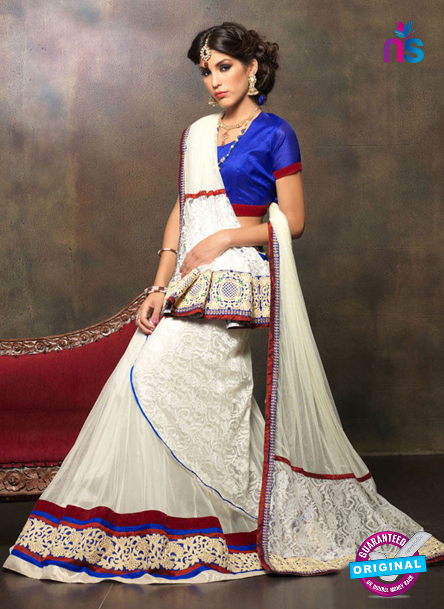 NS11665 Blue & White Net Brasso Party Wear Lerhenga Choli