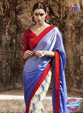 NS11683 Blue Yellow and Red Satin Georgette Saree