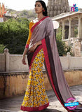 NS11684 Brown Yellow and Red Satin Georgette Saree