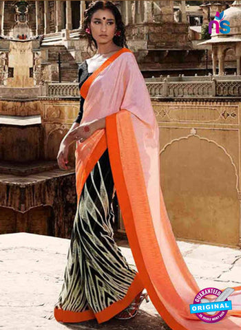 NS11685 Orange and Black Satin Georgette Saree