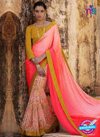 NS11687 LightPink and TurmericYellow Satin Georgette Saree