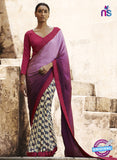 NS11689 Purple and CornellRed Satin Georgette Saree