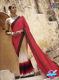 NS11692 Red and DarkBrown Satin Georgette Saree