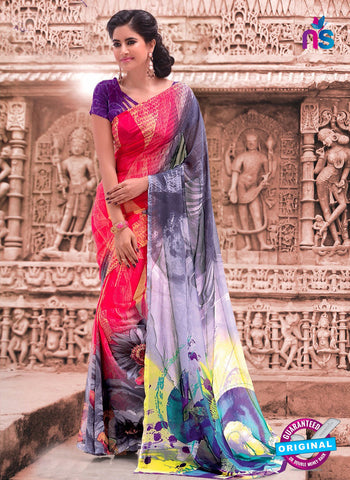 NS11693 RosePink and SlateGray Daily Wear Printed Georgette Saree