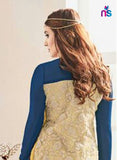 NS11241 DarkRoyalBlue and Ivory Party Wear Georgette Straight Suit