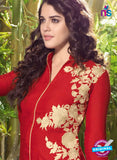 NS10515 Red and Biege Designer Linen Kurties