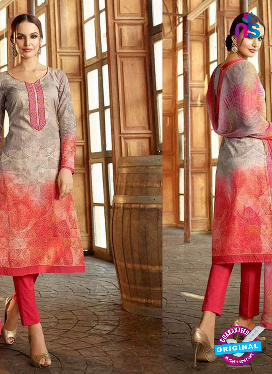 Omtex 1171 B Red and Grey Lawn Cotton Suit