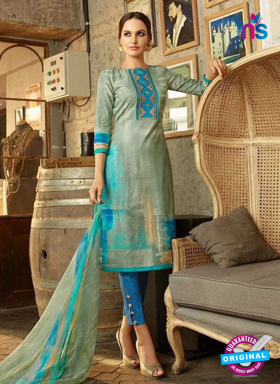 Omtex 1172 A Blue and Grey Lawn Cotton Suit