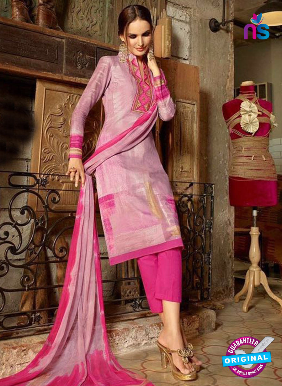 Omtex 1172 B Pink and Grey Lawn Cotton Suit