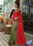 NS11736 Red and SeaGreen Wedding Wear Crape, Georgette, Net Saree