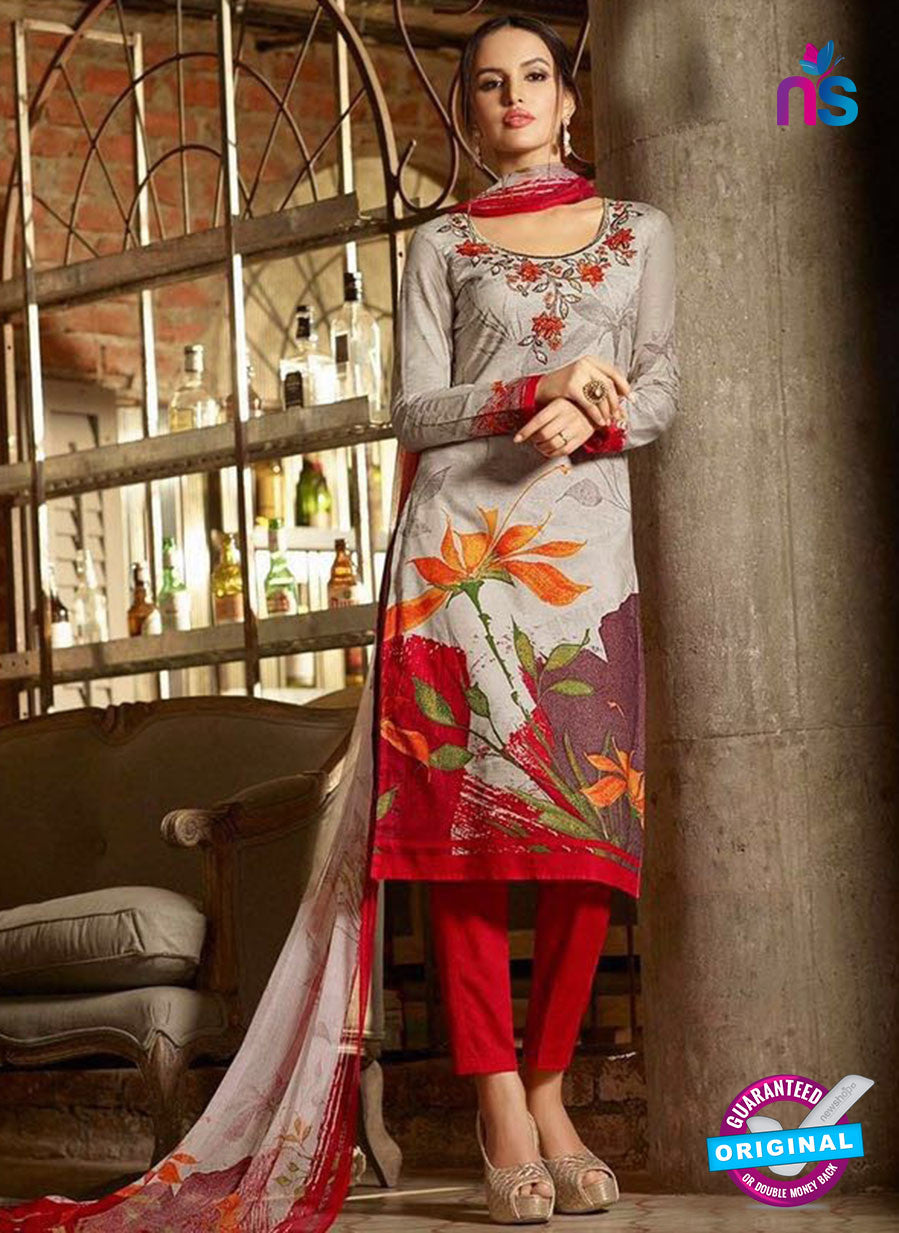 Omtex 1173 A Red and Grey Lawn Cotton Suit