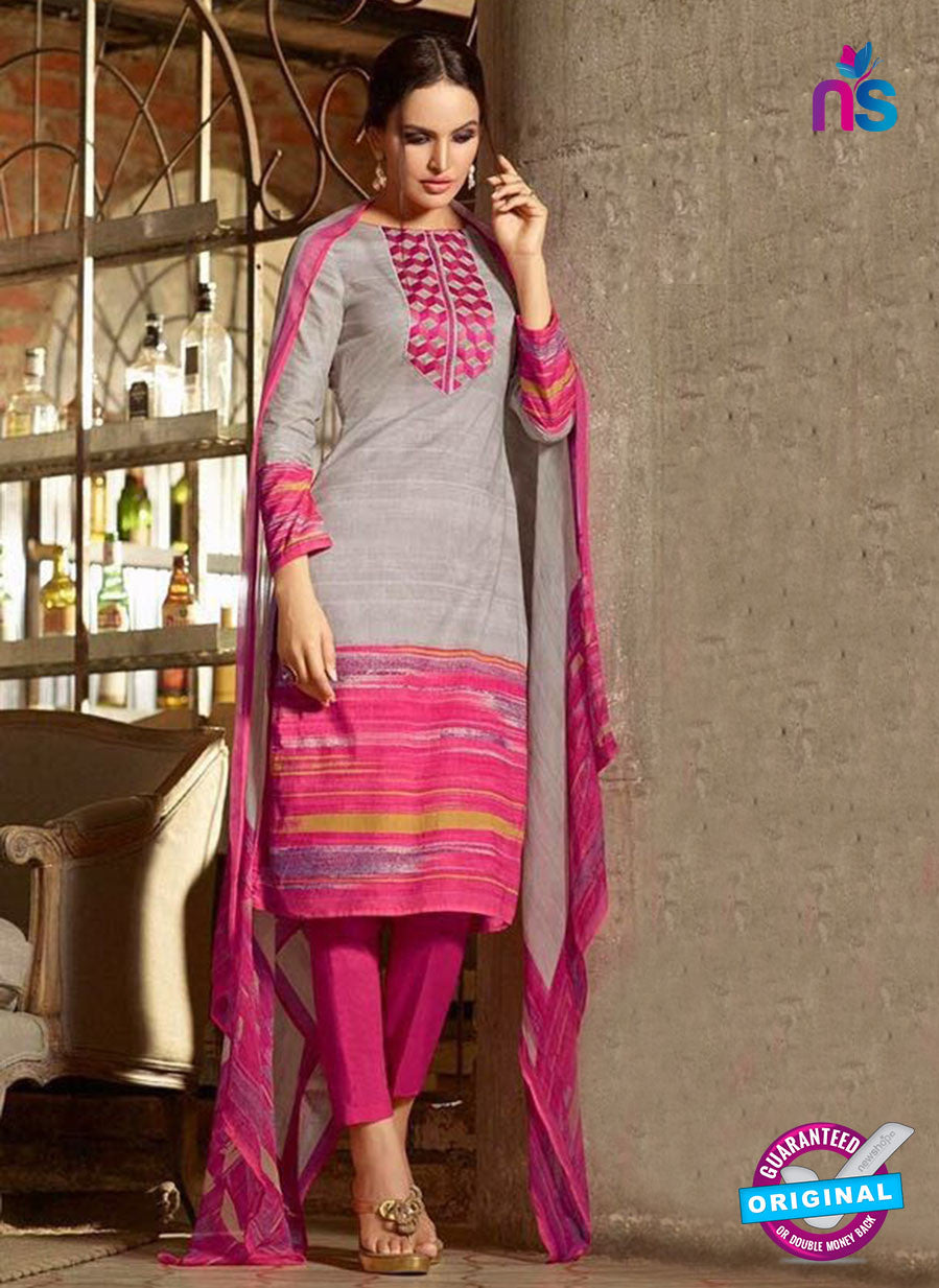 Omtex 1174 B Pink and Grey Lawn Cotton Suit