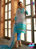Omtex 1174 A Blue and Grey Lawn Cotton Suit