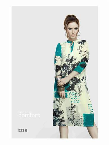 NS11724 B OffWhite and Multicolor Party Wear Lemon Georgette Kurti