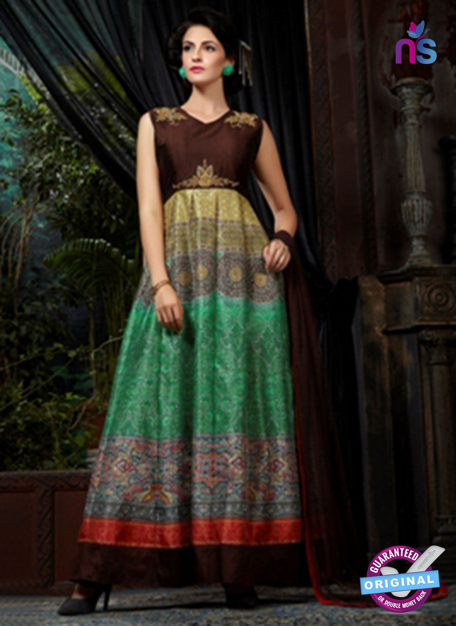 AZ 3600 Brown and Green Banglori Silk Indo Western Suit