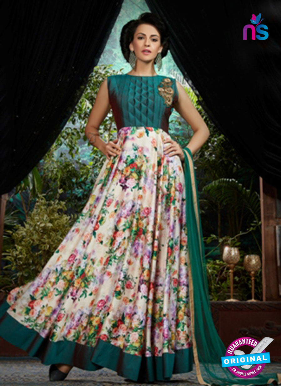 AZ 3602 Green and Beige Japan Satin Indo Western Suit
