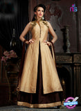 AZ 3604 Beige and Brown Tapata Silk Indo Western Suit