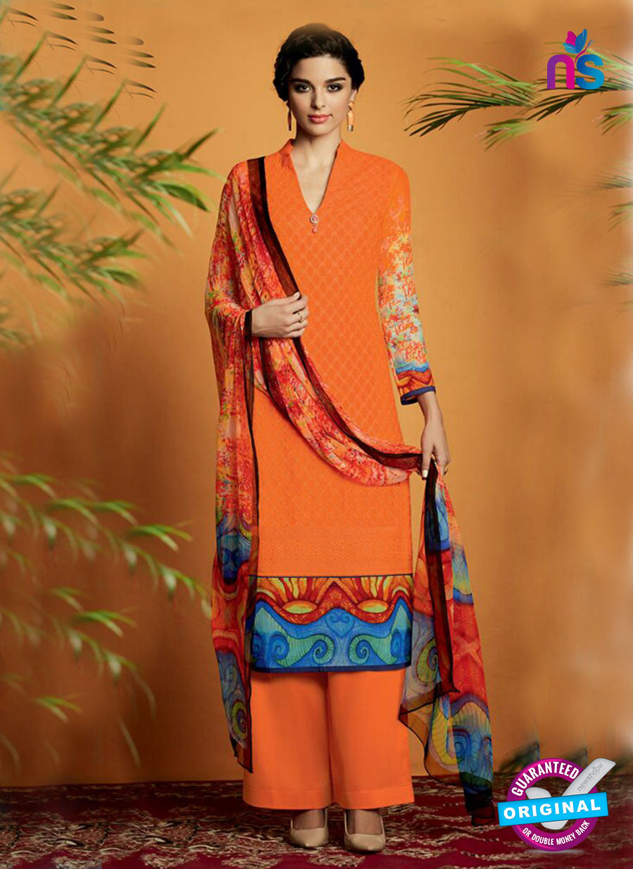 Kimora 117 Orange Cotton Satin Fancy Designer Plazo Suit