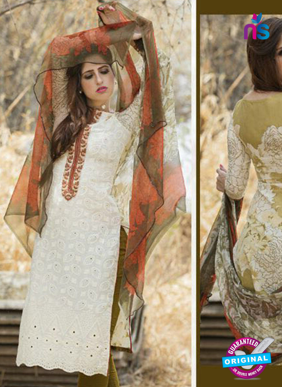 Ganga 117 Beige and Green Embroidered Cotton Suit