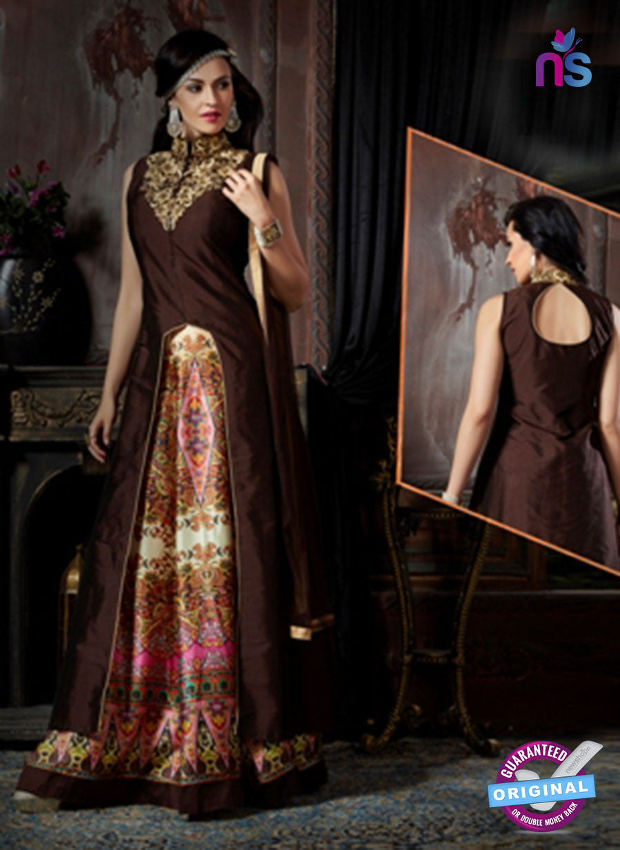 AZ 3606 Brown Japan Satin Indo Western Suit