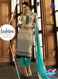 Omtex 1182 Blue and Beige Lawn Cotton Suit