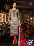 Omtex 1184 Red and Grey Lawn Cotton Suit