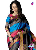 NS11854 Blue Grey and Red Cotton Party Wear Saree