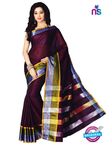 NS11855 Violet Grey and Green Cotton Saree