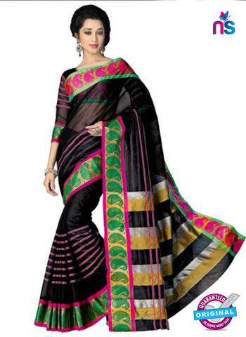 NS11857 Black and Multicolor Cotton Silk Saree