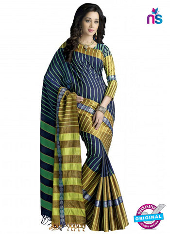 NS11858 Midnight Blue and Multicolor Cotton Silk Saree