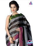NS11859 Grey and Black Cotton Silk Saree