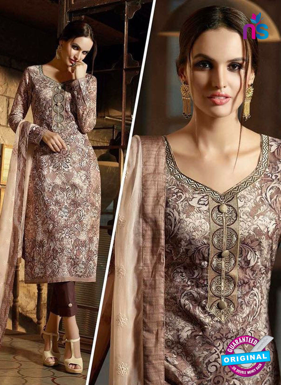 Omtex 1185 Brown and Peach Lawn Cotton Suit