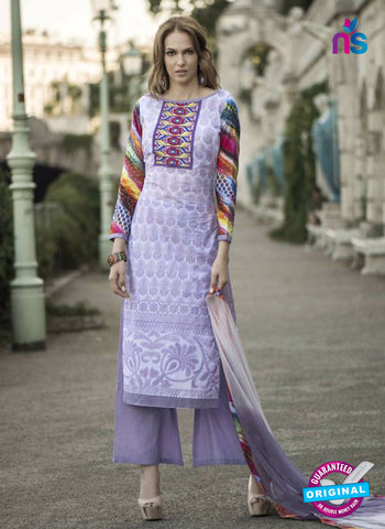 NS11869  Purple and White Glace Cotton Designer Suit