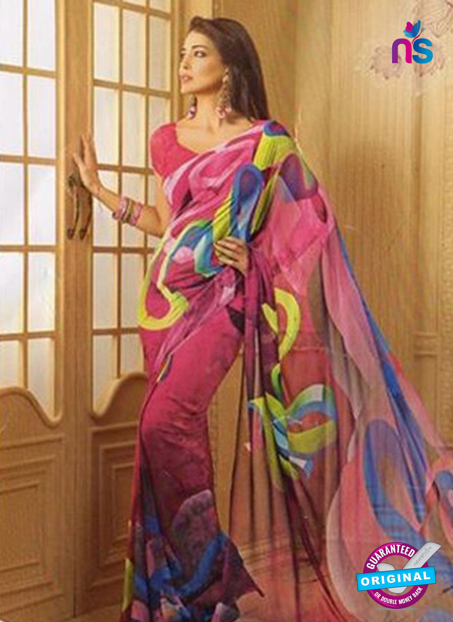 NS11875  SalmonRed and Multicolor Georgette Saree