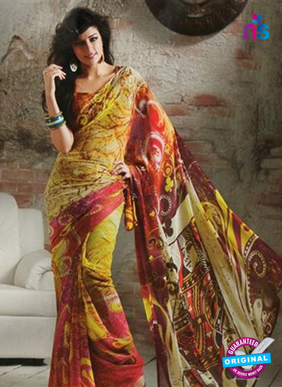 NS11878  Yellow and Maroon Georgette Saree