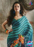 NS11879  Peacock Green and Black Georgette Saree