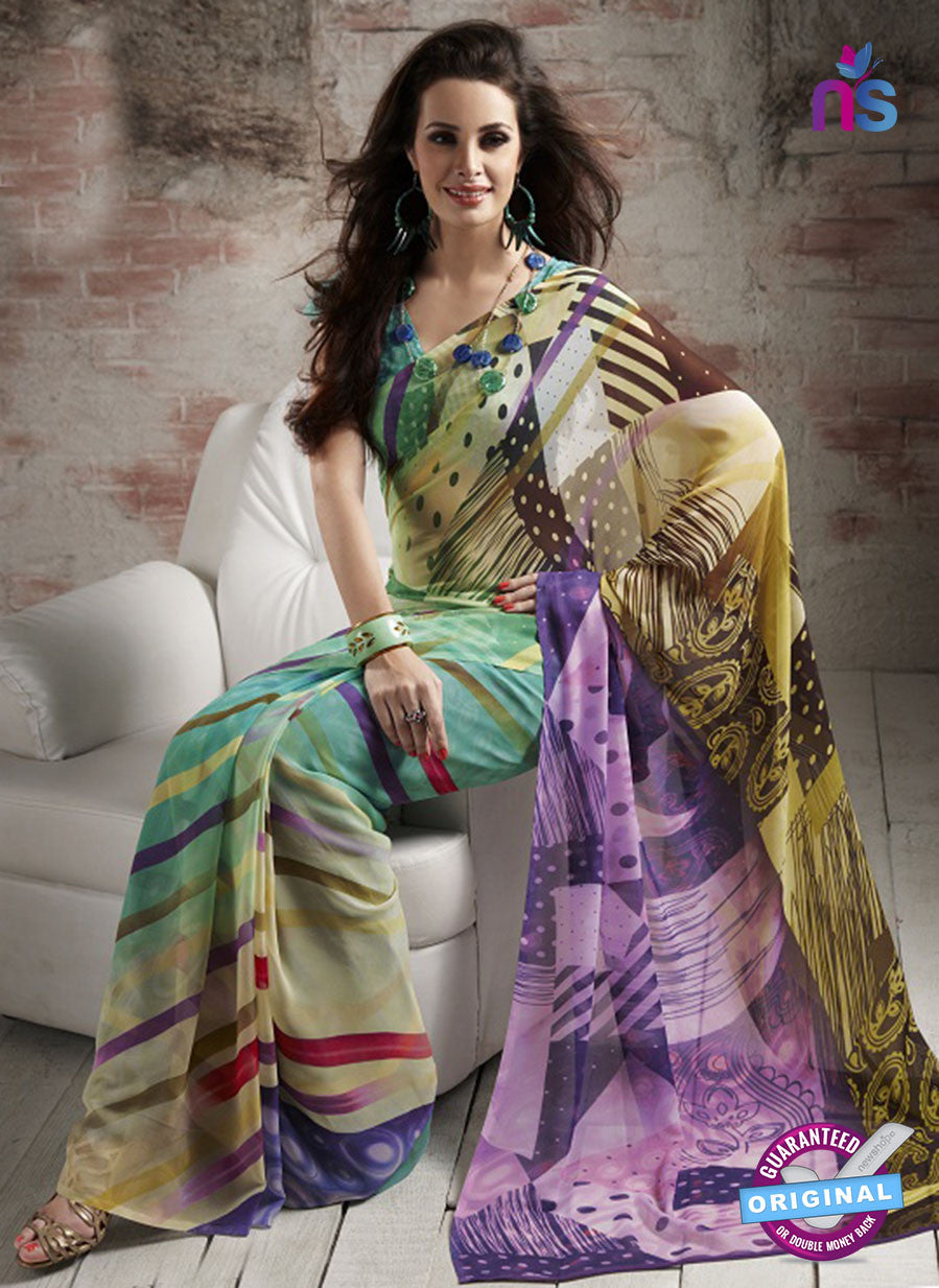 NS11880  Green and Multicolor Georgette Saree