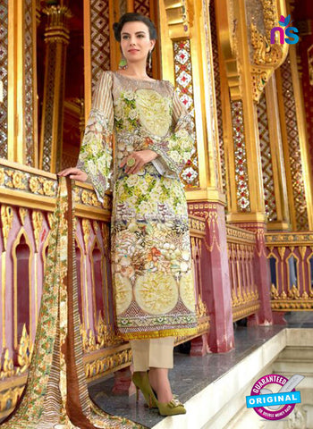 Beige Lawn Cotton Embroidered  Suit