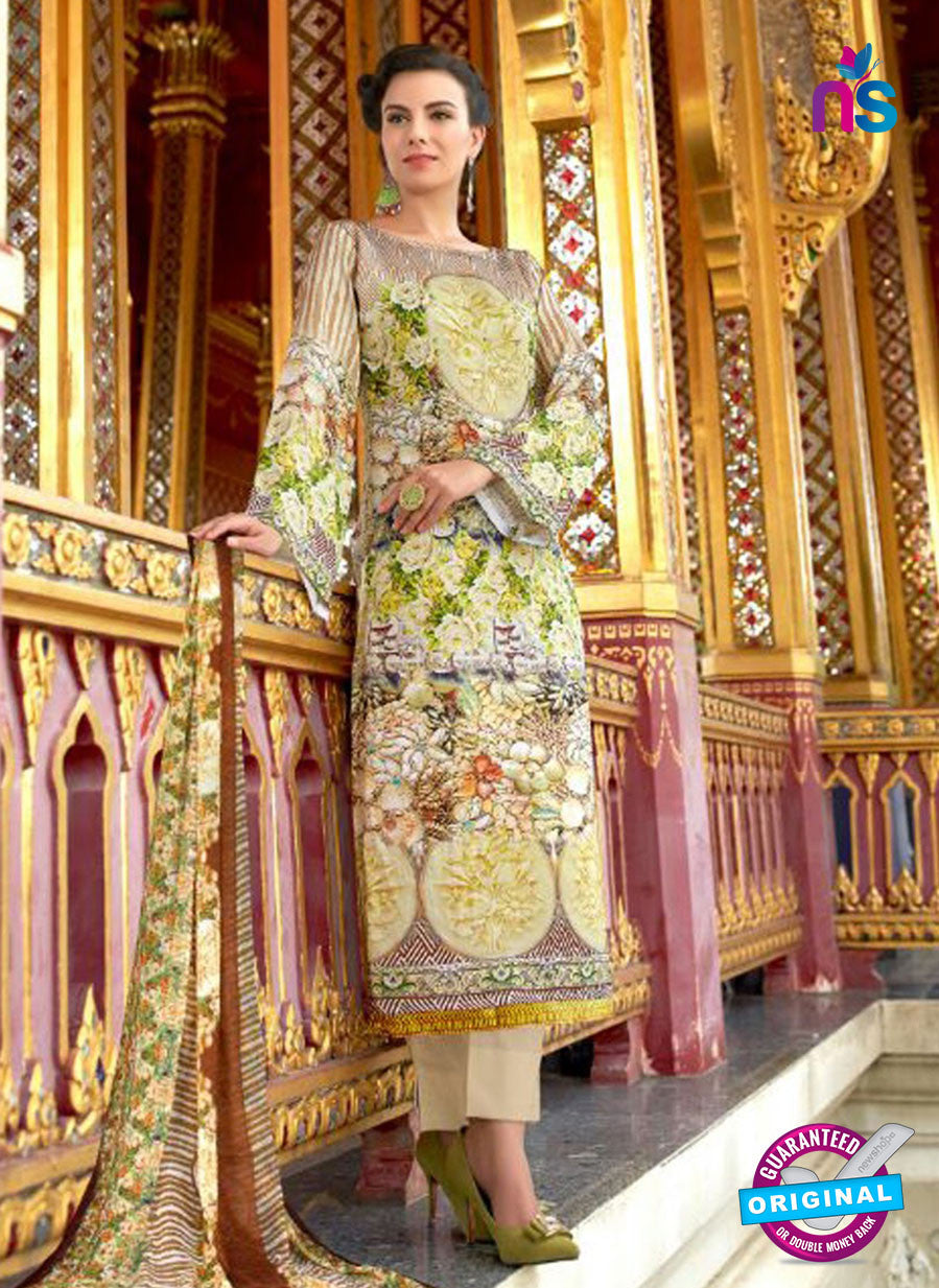 SC 12545 Multicolor and Beige Digital Printed Lawn Cotton with Embroidered Party Wear Pakistani Suit