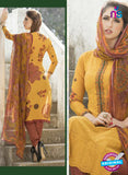 Ganga 118 Yellow and Brown Embroidered Cotton Suit