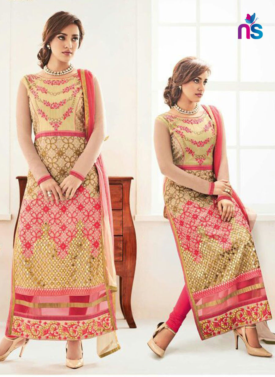 NS11242 SandyBrown and Pink Party Wear Georgette Straight Suit