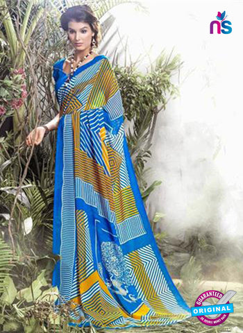 NS11905  Blue and Yellow Chiffon Saree