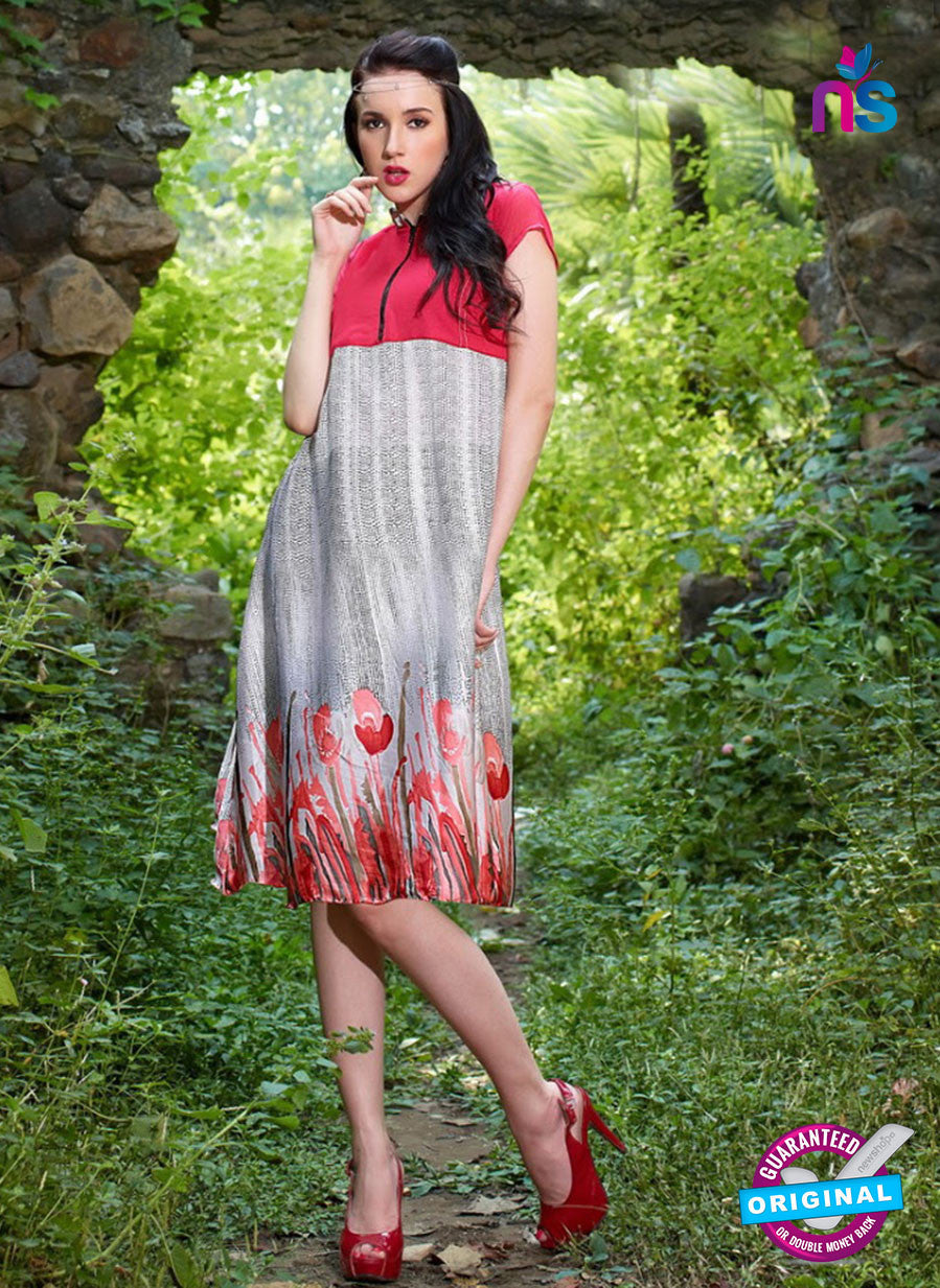NS10044 Red and White Party Wear Half Georgette Half Satin Kurti